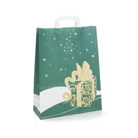 Papiertragetaschen Toptwist Weihnachtsgeschenk 32x14x42cm / grün / 80g / mit Flachhenkel Produktbild