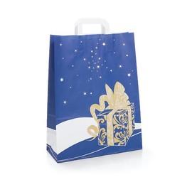 Papiertragetaschen Toptwist Weihnachtsgeschenk 32x14x42cm / blau / 80g / mit Flachhenkel Produktbild