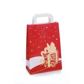 Papiertragetaschen Toptwist Weihnachtsgeschenk 32x14x42cm / rot / 80g / mit Flachhenkel Produktbild