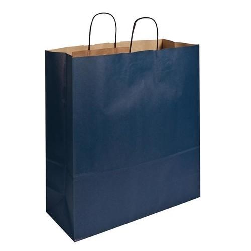 Papiertragetaschen Toptwist 40x16x45cm 100g Kraftpapier blau Papierkordel (KTN=150 STÜCK) Produktbild Front View L