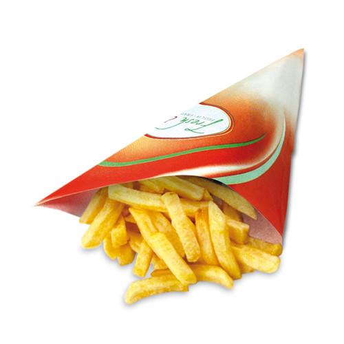 Pommes-Spitztüte Fresh & Tasty Papier 230x230mm (PACK=1000 STÜCK) Produktbild Front View L