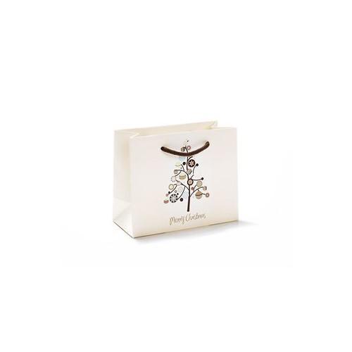 Exklusive Papiertragetaschen Merry Christmas 22x10x18cm / 190g / mit Kordel Produktbild Front View L