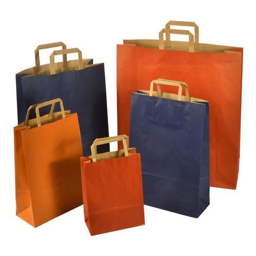 """Papiertragetaschen """"Standard-Recycled"""" 230+100x320mm 100g orange mit Flachhenkel (KTN=250 STÜCK) Produktbild Additional View 1 L"""