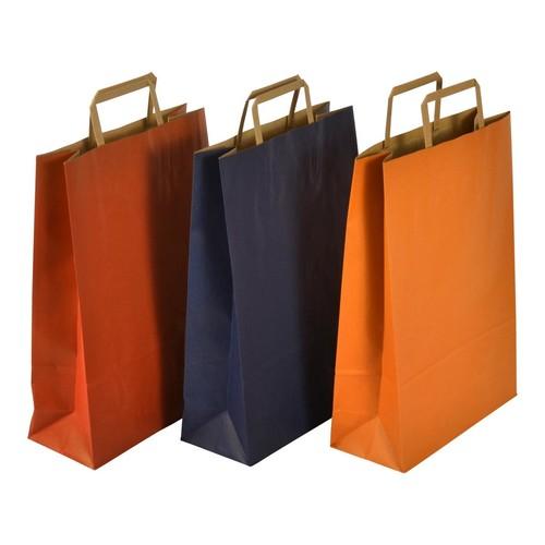 """Papiertragetaschen """"Standard-Recycled"""" 230+100x320mm 100g orange mit Flachhenkel (KTN=250 STÜCK) Produktbild Additional View 2 L"""