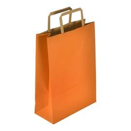 """Papiertragetaschen """"Standard-Recycled"""" 230+100x320mm 100g orange mit Flachhenkel (KTN=250 STÜCK) Produktbild"""