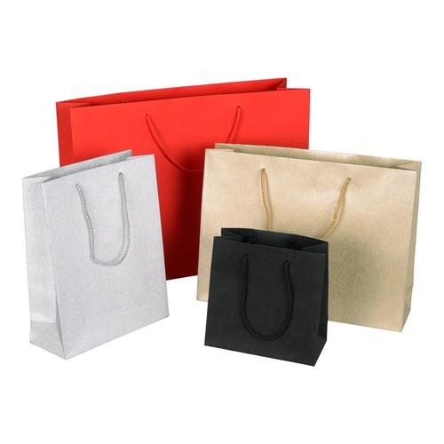 "Papiertragetaschen ""Glamour"" 200+80x250mm 190g gold/glitter mit PP-Kordel, Randverstärkung (KTN=75 STÜCK) Produktbild Additional View 2 L"