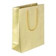"Papiertragetaschen ""Glamour"" 200+80x250mm 190g gold/glitter mit PP-Kordel, Randverstärkung (KTN=75 STÜCK) Produktbild"