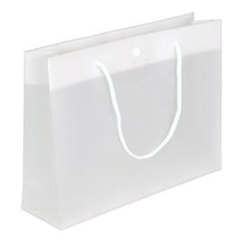 """PP Tragetaschen """"De Luxe"""" 300+80x220mm 180my weiß/transparent mit Druckknopf, Baumwollkordel, Randverstärkung (KTN=100 STÜCK) Produktbild"""