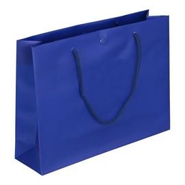 """PP Tragetaschen """"De Luxe"""" 300+80x220mm 180my blau mit Druckknopf, Baumwollkordel, Randverstärkung (KTN=100 STÜCK) Produktbild"""