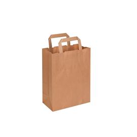 Papiertragetaschen 26+17x25cm / braun Papierflachhenkel (KTN=250 STÜCK) Produktbild