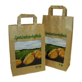 Papiertragetaschen / Motiv Kartoffeln 5kg / 22+10x36cm / braun / Papierflachhenkel (KTN=250 STÜCK) Produktbild