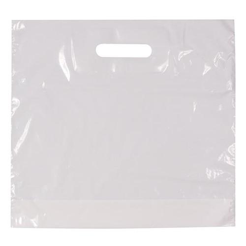 PE Grifflochtragetasche mit Bodenfalte 34x35x10cm 40my weiß (KTN=500 STÜCK) Produktbild Front View L