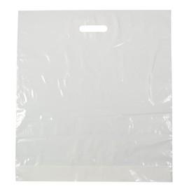 PE Grifflochtragetasche mit Bodenfalte 50x55x10cm 50my weiß (KTN=500 STÜCK) Produktbild