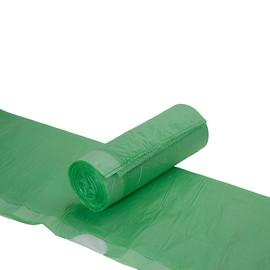 Müllbeutel mit Zugband 60l / 12µ / 630x740+50mm / grün / HDPE / Standard (KTN=50 ROLLEN À 20 STÜCK) Produktbild