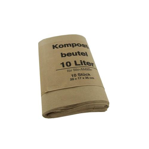 Bio-Papiermüllbeutel 10l / 70g / 200+160x360mm /  braun / kompostierbar (PACK=10 STÜCK) Produktbild Additional View 1 L