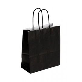 """Papiertragetaschen """"Komfort-Color"""" 180+80x250mm 100g schwarz mit gedrehter Papierkordel (KTN=300 STÜCK) Produktbild"""