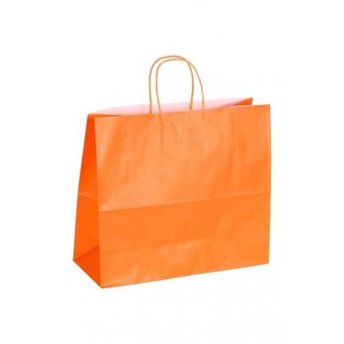 """Papiertragetaschen """"Komfort-Color"""" 320+130x280mm 100g orange mit gedrehter Papierkordel (KTN=250 STÜCK) Produktbild Front View L"""