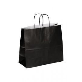 """Papiertragetaschen """"Komfort-Color"""" 320+130x280mm 100g schwarz mit gedrehter Papierkordel (KTN=250 STÜCK) Produktbild"""