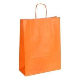 """Papiertragetaschen """"Komfort-Color"""" 320+130x425mm 100g orange mit gedrehter Papierkordel (KTN=250 STÜCK) Produktbild"""