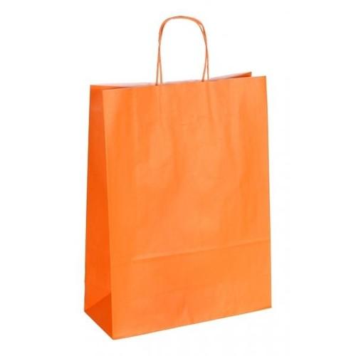 """Papiertragetaschen """"Komfort-Color"""" 320+130x425mm 100g orange mit gedrehter Papierkordel (KTN=250 STÜCK) Produktbild Front View L"""