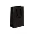 """Papiertragetaschen """"Black"""" 160+80x250mm 120g schwarz gerippt mit Baumwollkordel (KTN=125 STÜCK) Produktbild"""