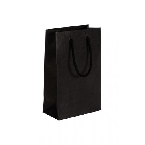 """Papiertragetaschen """"Black"""" 160+80x250mm 120g schwarz gerippt mit Baumwollkordel (KTN=125 STÜCK) Produktbild Front View L"""