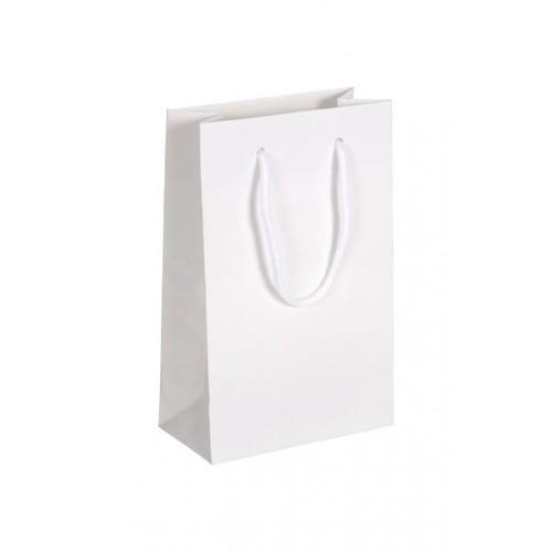 """Papiertragetaschen """"White"""" 160+80x250mm 190g weiß glänzend mit Baumwollkordel (KTN=125 STÜCK) Produktbild Front View L"""