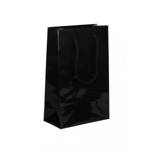 """Papiertragetaschen """"Night"""" 160+80x250mm 190g schwarz glänzend mit Baumwollkordel (KTN=125 STÜCK) Produktbild Front View L"""