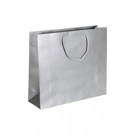 "Papiertragetaschen ""Silver"" 420+130x370mm 170g silber matt mit Baumwollkordel (KTN=100 STÜCK) Produktbild"