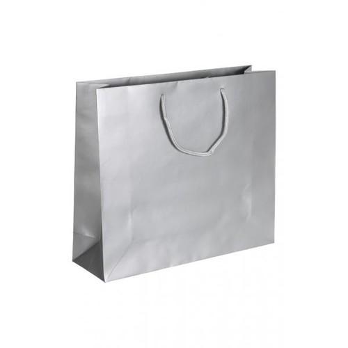 "Papiertragetaschen ""Silver"" 420+130x370mm 170g silber matt mit Baumwollkordel (KTN=100 STÜCK) Produktbild Front View L"