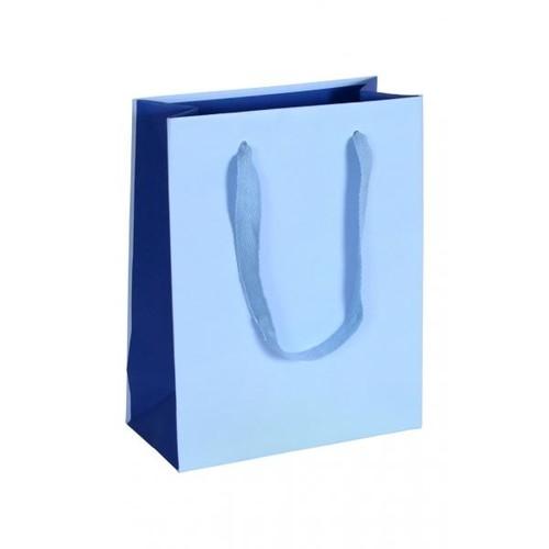 """Papiertragetaschen """"Royal"""" 220+100x275mm 170g blau mit Baumwollband (KTN=50 STÜCK) Produktbild Front View L"""