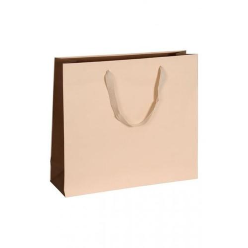 """Papiertragetaschen """"Royal"""" 420+130x370mm 170g beige mit Baumwollband (KTN=50 STÜCK) Produktbild Front View L"""