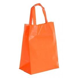 """HDPE Tragetaschen """"Frosty-Color"""" 200+120x265mm 70my orange mit Blockboden und Schlaufengriff (KTN=500 STÜCK) Produktbild"""