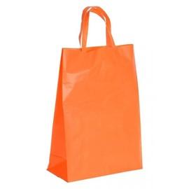 """HDPE Tragetaschen """"Frosty-Color"""" 260+100x350mm 70my orange mit Blockboden und Schlaufengriff (KTN=500 STÜCK) Produktbild"""