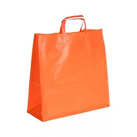 """HDPE Tragetaschen """"Frosty-Color"""" 405+150x405mm 70my orange mit Blockboden und Schlaufengriff (KTN=500 STÜCK) Produktbild"""