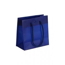 """PP Tragetaschen """"De Luxe"""" 160+80x160mm 160my blau mit Druckknopf, Baumwollkordel,Randverstärkung (KTN=100 STÜCK) Produktbild"""