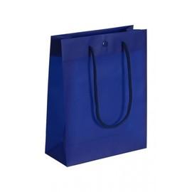 """PP Tragetaschen """"De Luxe"""" 200+80x250mm 160my blau mit Druckknopf, Baumwollkordel,Randverstärkung (KTN=100 STÜCK) Produktbild"""