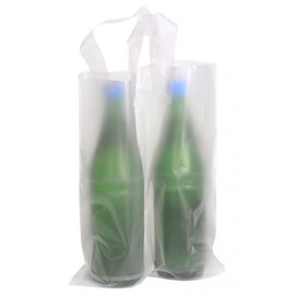 HDPE Flaschentasche für 2 Flaschen 160/2x340+80mm 70my naturtransparent mit Schlaufengriff (KTN=250 STÜCK) Produktbild