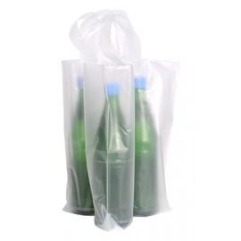 HDPE Flaschentasche für 4 Flaschen 160/4x340+80mm 70my naturtransparent mit Schlaufengriff (KTN=100 STÜCK) Produktbild