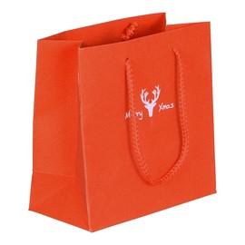 """Papiertragetaschen """"Merry Xmas"""" 16+8x16cm / 190g / rot-glitter (KTN=100 STÜCK) Produktbild"""