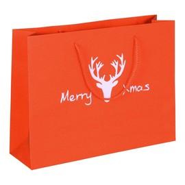 """Papiertragetaschen """"Merry Xmas"""" 32+9x24cm / 190g / rot-glitter (KTN=100 STÜCK) Produktbild"""