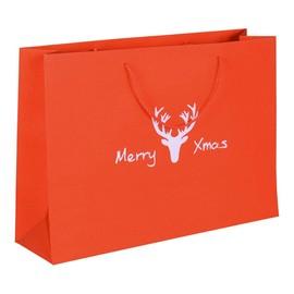 """Papiertragetaschen """"Merry Xmas"""" 40+11x30cm / 190g / rot-glitter (KTN=100 STÜCK) Produktbild"""