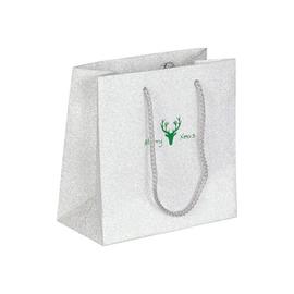 """Papiertragetaschen """"Merry Xmas"""" 16+8x16cm / 190g / silber-grün (KTN=100 STÜCK) Produktbild"""