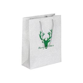 """Papiertragetaschen """"Merry Xmas"""" 20+8x25cm / 190g / silber-grün (KTN=100 STÜCK) Produktbild"""