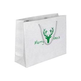 """Papiertragetaschen """"Merry Xmas"""" 32+9x24cm / 190g / silber-grün 190g silber/grün (KTN=100 STÜCK) Produktbild"""