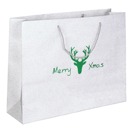 """Papiertragetaschen """"Merry Xmas"""" 40+11x30cm / 190g / silber-grün (KTN=100 STÜCK) Produktbild"""