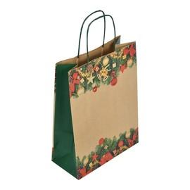 "Papiertragetaschen "" Komfort Weihnacht"" 22+10x29cm / 100g / braun Kraftpapier (KTN=250 STÜCK) Produktbild"
