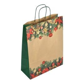 "Papiertragetaschen ""Komfort Weihnacht"" 32+13x41cm / 100g / Kraftpapier braun (KTN=250 STÜCK) Produktbild"