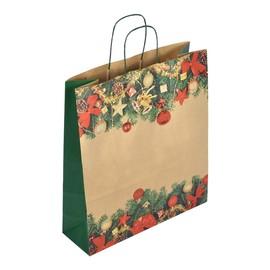 "Papiertragetaschen ""Komfort Weihnacht"" 45+15x49cm / 110g / braun Kraftpapier (KTN=250 STÜCK) Produktbild"