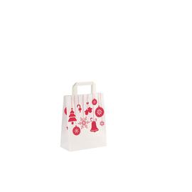 Papiertragetaschen Weihnachtsschmuck 22x10,5x28cm / 70g / weiß / mit Flachhenkel (KTN=250 STÜCK) Produktbild